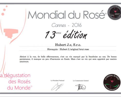 Nové ocenenie sektu Hubert L´Original Brut Rosé v súťaži Mondial du Rosé