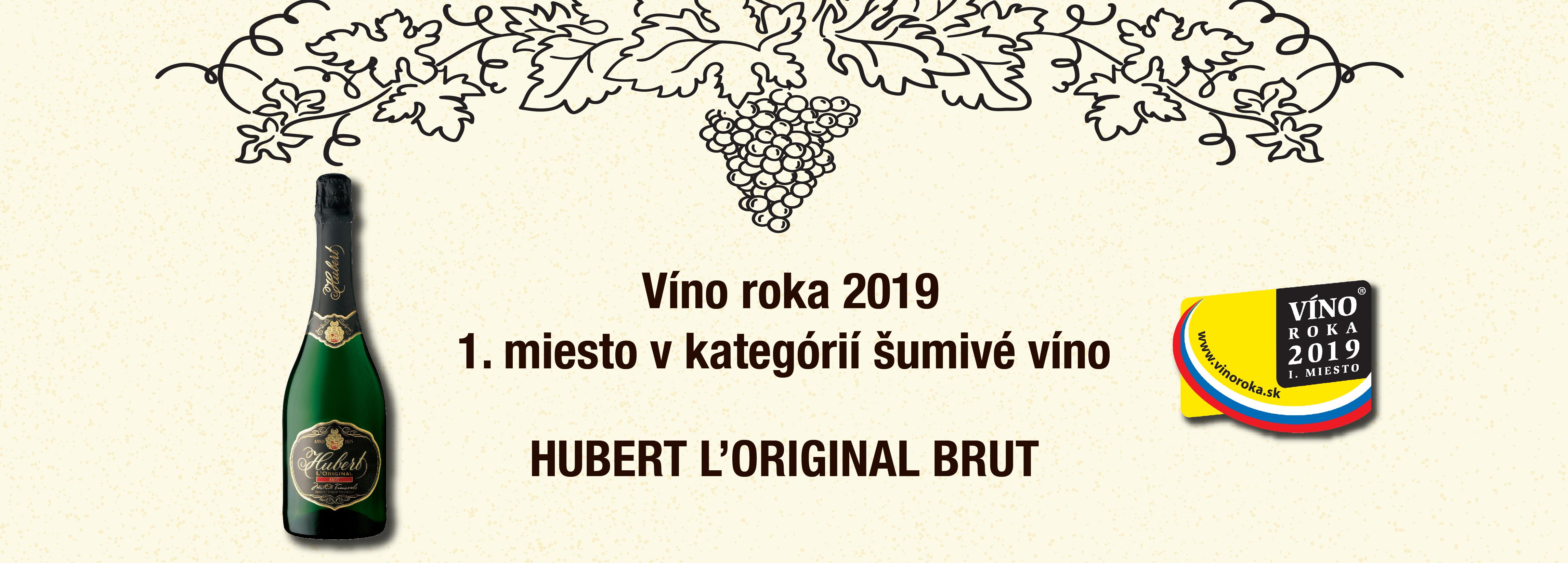 Prvé miesto v kategórii šumivé vína v ankete roka 2019 získal Hubert L'Original Brut